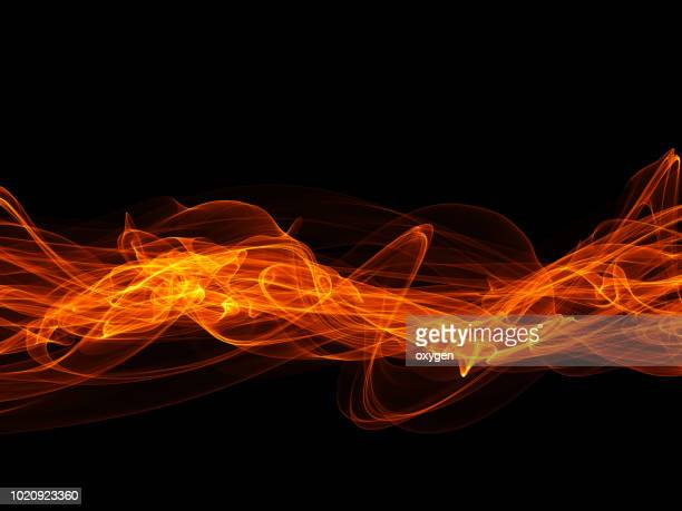 fire flames collection isolated on black background - atomic imagery imagens e fotografias de stock