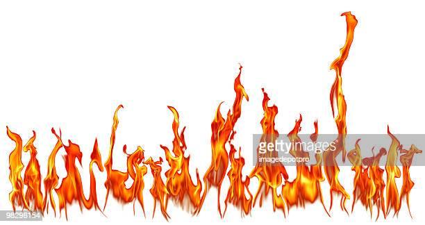 Fuoco fiamme isolato su sfondo bianco