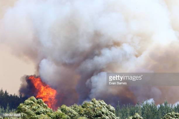 Fire flare up as firefighters battle a blaze as 170 homes have been evacuated from the area in the Tasman district February 7 2019 in Richmond near...