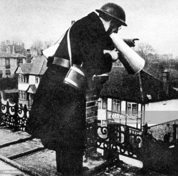 Fire Guard on the roof of a house WWII