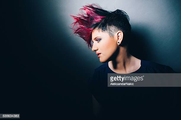 fire hair - mohawk stock pictures, royalty-free photos & images