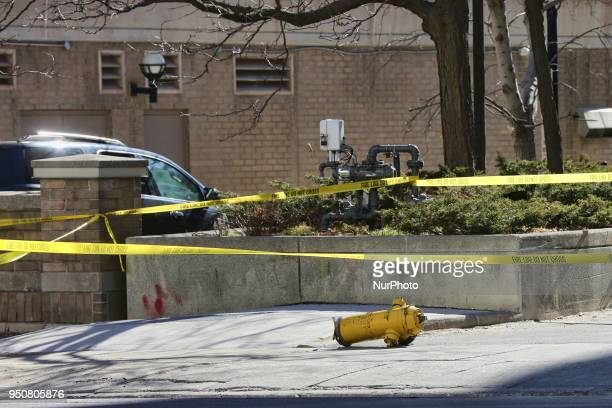 Fire hydrant dislodged after 10 people were killed and 15 people injured in a deadly van attack in Toronto Ontario Canada on April 23 2018 Alek...