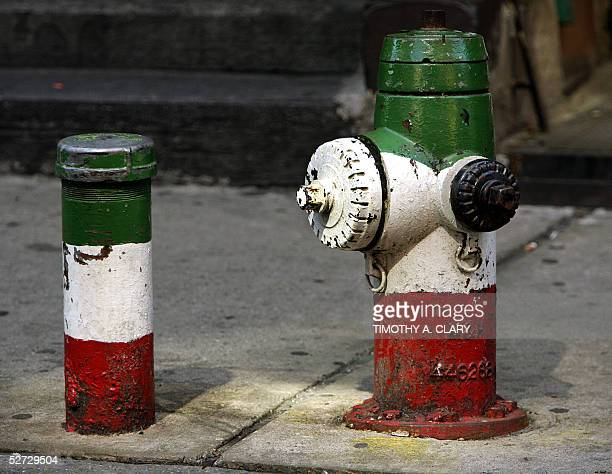 Fire hydrant is painted in the colors of the Italian national flag 26 April 2005 in New York City's Little Italy. The narrow streets are packed with...