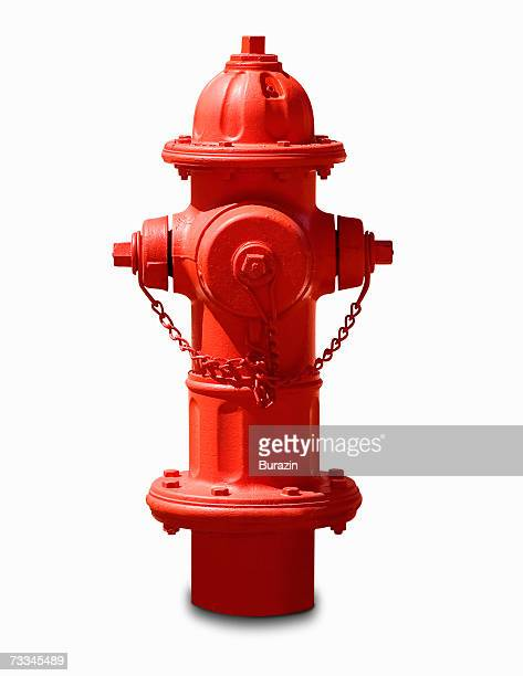 Fire hydrant, white background, front view