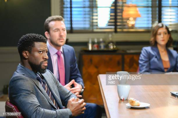 LAW Fire In A Crowded Theater Episode 105 Pictured Michael Luwoye as Anthony Little Barry Sloane as Jake Reilly Caitlin McGee as Sydney Strait