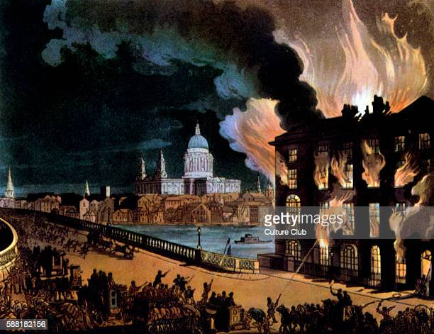 A fire in London across the bridge from St Paul s Cathedral From the Microcosm of London Ackermann 1808