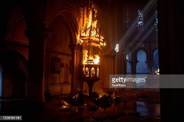 Fire in the Institutional Church of Carabineros in Santiago, Chile on October 18, 2020. During the one-year commemoration of the social outbreak,...