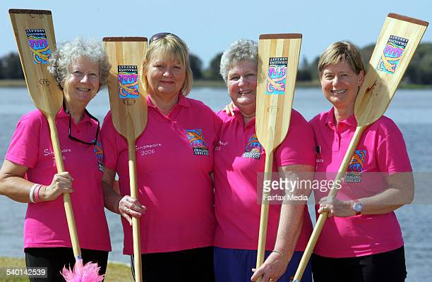 Illawarra dragon boat racers Helen Bent Helena Deacon Lesley Gal and Catherine Holland 17 September 2006 ILM Picture by ROBERT PEET