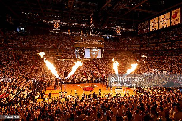 Fire is seen during pregame introductions before the Miami Heat take on the San Antonio Spurs in Game One of the 2013 NBA Finals at AmericanAirlines...