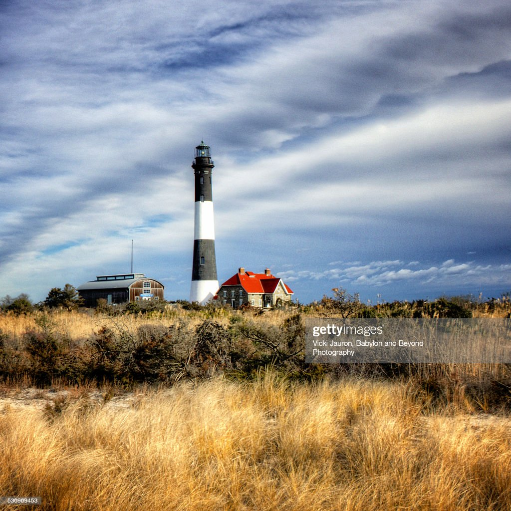 Fire Island: Fire Island Lighthouse In Winter Stock Photo