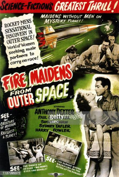 Fire Maidens Of Outer Space poster top from left Paul Carpenter Anthony DExter Sydney Tafler bottom from left Susan Shaw Anthony Dexter 1956