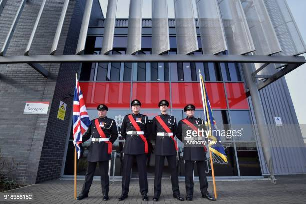 Fire officers wait for the arrival of The Prince of Wales ahead of his visit to Dearne Community Fire Station on February 16 2018 in Rotherham United...