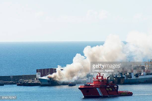 Fire on a docked ship