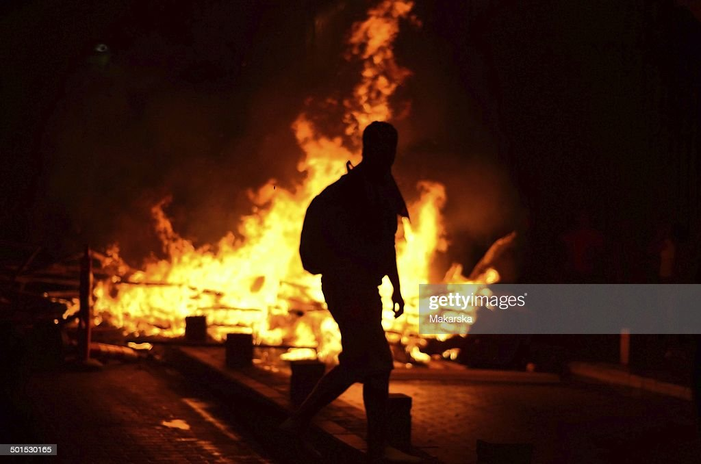 Fire on the street : Stock Photo