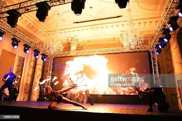 Fire performers at the launch of the Four Seasons Hotel Baku on November 17 2012 in Baku Azerbaijan