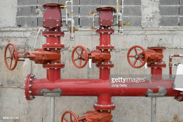 fire pipe equipment at construction site
