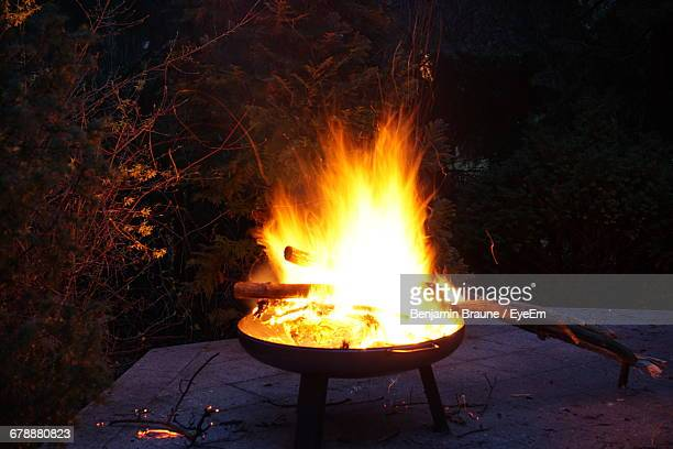 Fire Pit Against Trees At Forest