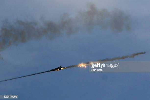 Fire Power Demonstration of Indian Air Force fighter plane during an Indian Air Force excercise named ' Vayu Shakti2019' at the Air Force firing...