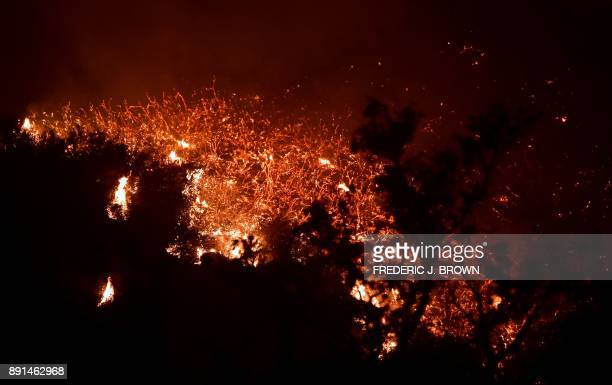 Fire rages a Romero Canyon hillside in Montecito California north of Santa Barbara on December 12 2017 Crews battling wildfires ravaging southern...