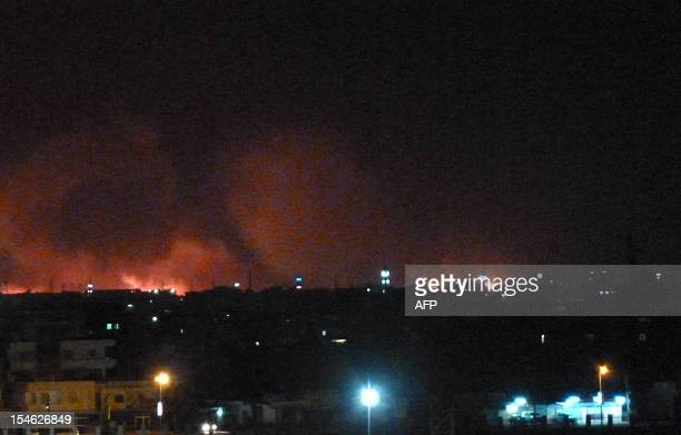 Fire rages at the stateowned Yarmouk military factory in southern Khartoum Sudan Wednesday October 24 2012 AFP Photo/Ian Timberlake