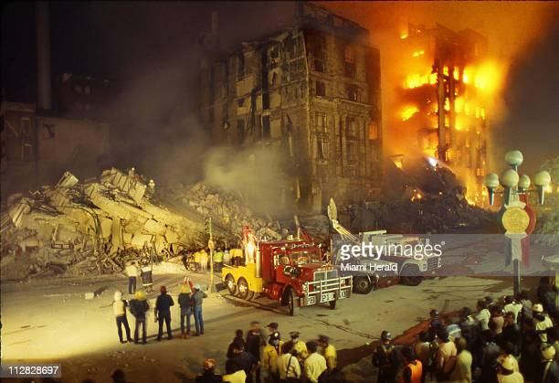 A fire ravages a building in Mexico City in the aftermath of the 81magnitude earthquake that struck Mexico's capital on September 19 1985 Mexico's...