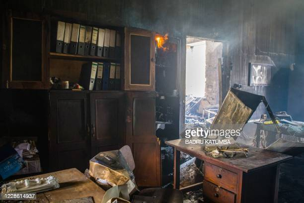 Fire remains inside the burnt building at the Ivory Tower of Makerere University in Kampal on September 20, 2020. - Makerere was established in 1922...