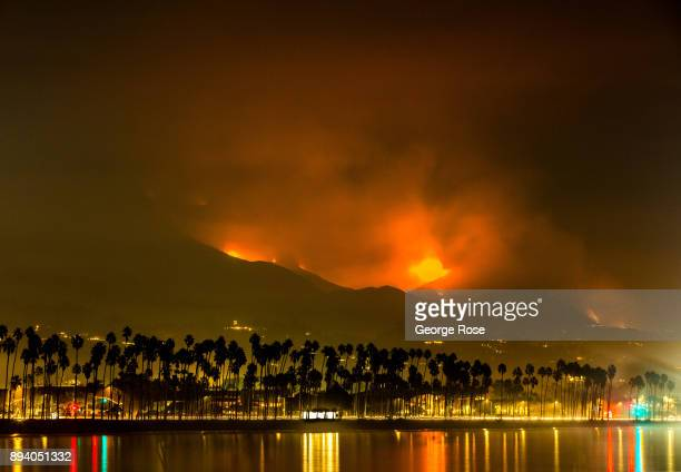 Fire smoke and ash from the Thomas Fire currently burning in the hills above Montecito Summerland and Carpinteria along the eastern edges of the...