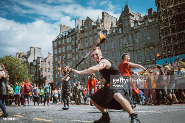 Fire Spinners Perform in an Edinburgh Street Parade