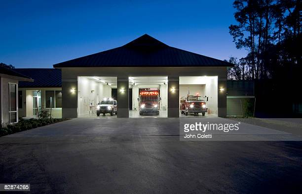 fire station at dawn - fire station stock pictures, royalty-free photos & images