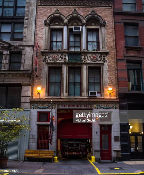 fdny fire station in early morning - fire station stock photos and pictures