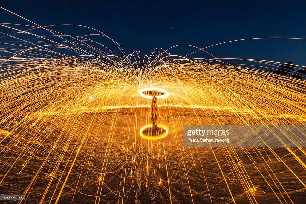 fire steel wool with water reflection ストックフォト getty images