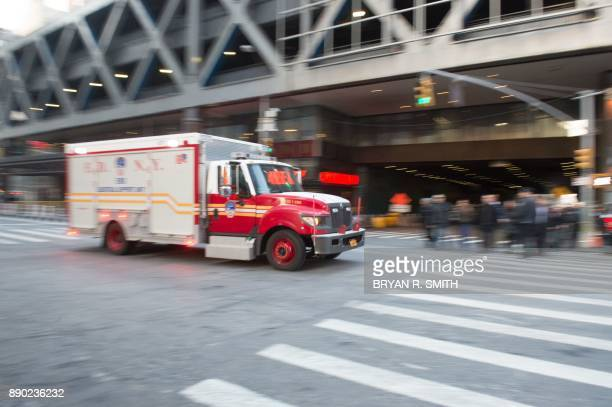 A fire truck arrives after a reported explosion at the Port Authority Bus Terminal on December 11 2017 in New York New York police said Monday that...