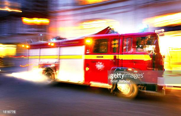 Fire truck races to an emergency call October 23, 2002 in London, United Kingdom. Deputy British Prime Minister John Prescott has warned that...