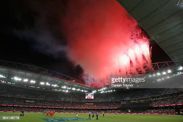 Fire works are seen after the Big Bash League match between the Melbourne Renegades and the Melbourne Stars at Etihad Stadium on January 9, 2016 in...