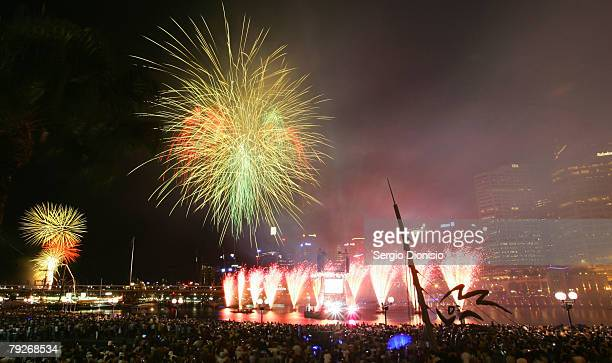 Fire works explode over Cockle Bay on Sydney Harbour during the Australia Day celebrations on January 26 2008 in Sydney Australia
