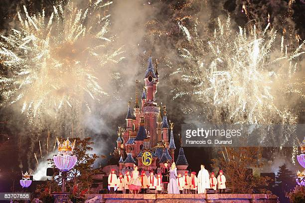 Fire works upon the Sleeping Beauty Castle of Disneyland Resort Paris during the Christmas Lights Switching on day, on November 15, 2008 in Marne la...