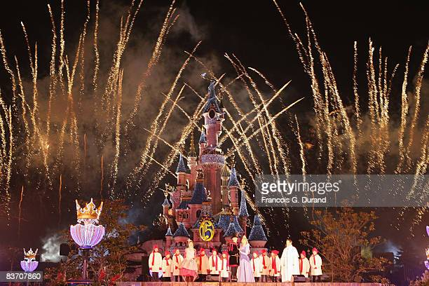 Fire works upon the Sleeping Beauty Castle of Disneyland Resort Paris during the Christmas Lights Switching on day on November 15 2008 in Marne la...