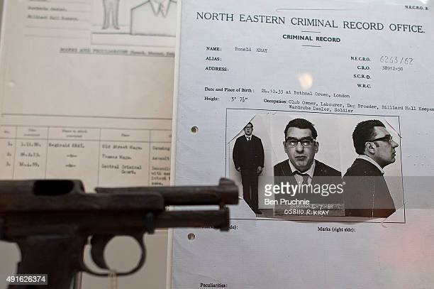 A firearm and criminal record belonging to Ronnie Kray displayed at the Met Crime Museum Uncovered exhibition on October 7 2015 in London England...