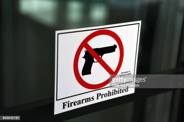 Firearms Prohibited warning sign at City of Chicago, Illinois, USA