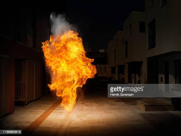 fireball in urban invironment - explosive material ストックフォトと画像