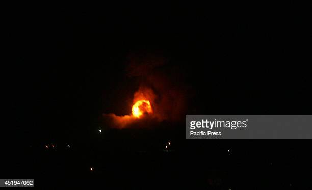 Fireball rises following an Israeli missile strike on the Rafah refugee camp in the southern Gaza Strip. The Israeli army on Wednesday intensified...