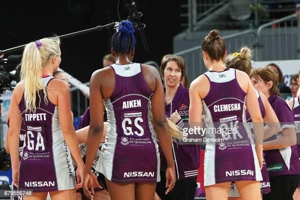 Firebirds coach Roselee Jencke talks to her players during the round 11 Super Netball match between the Vixens and the Firebirds at Hisense Arena on...
