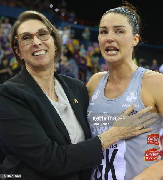 Firebirds coach Roslee Jencke speaks with Sharni Layton of the Magpies after the game of the round 14 Super Netball match between the Firebirds and...