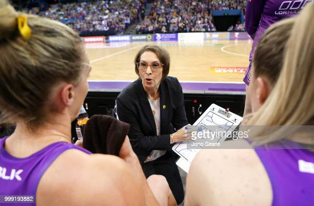 Firebirds coach Rosleee Jencke talks to her team during the round 11 Super Netball match between the Firebirds and the Giants at Brisbane...