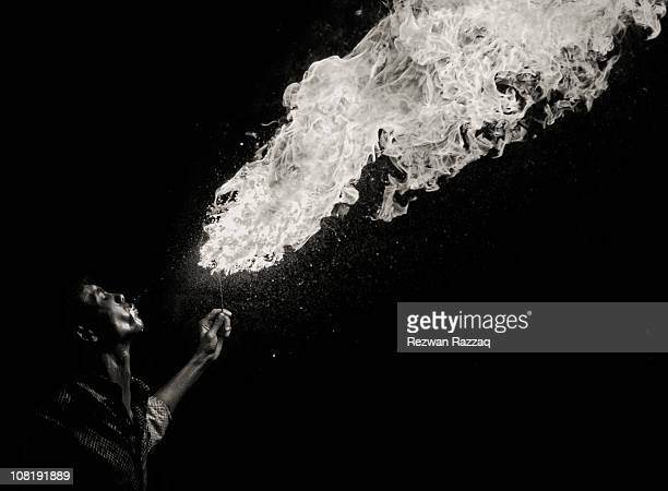 Fire-Breathing is possibly the most dangerous and potentially injurious art to be found in circus. Taken at the event of Poush Shongkranti, Shakhari...