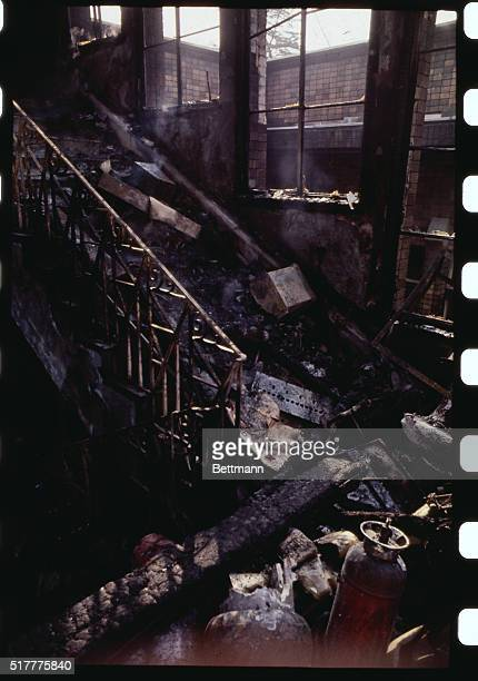 Firecharred interior of one of the buildings of Tokyo University after an 11hour battle with police ended and the student radicals who had paralyzed...