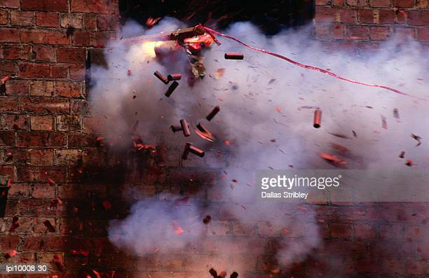 firecrackers explode during celebrations for chinese new year in chinatown, melbourne,victoria,australia,australasia - 壊す ストックフォトと画像