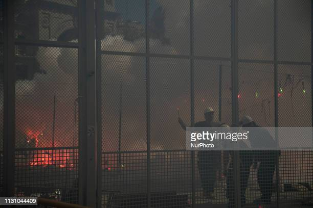 Firecrackers explode during the traditional 'Mascleta' of the Fallas festival The Fallas will be burnt in the streets of Valencia on March 19 2019 as...
