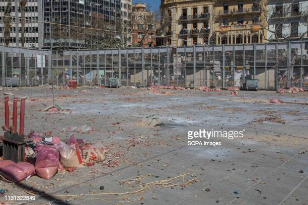 Firecrackers seen after the explosion of the traditional 'Mascleta' during the Fallas festival Fallas are huge sculptures depicting famous...