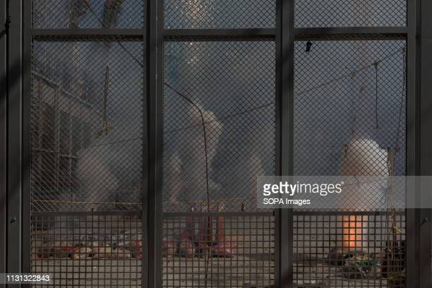 Firecrackers seen exploding during the traditional 'Mascleta' of the Fallas festival. Fallas are huge sculptures depicting famous personalities or...